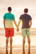 30358074 - happy gay couple watching sunset on the beach